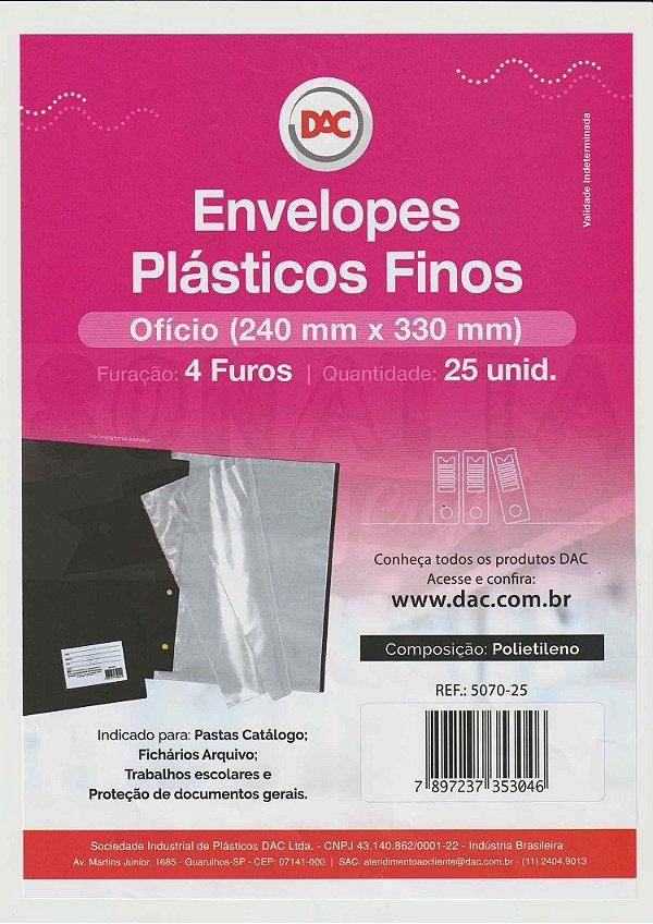 25 Envelopes Plásticos Finos Ofício Com 4 furos DAC 5070-25