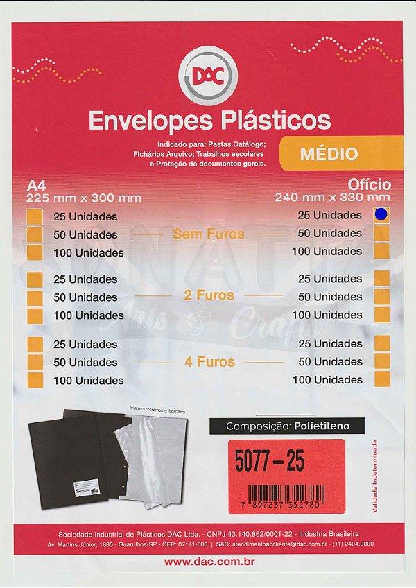 25 Envelopes Plásticos Médios tamanho Ofício Sem furos DAC 5077-25