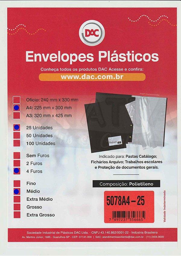 25 Envelopes Plásticos Médios A4 com 4 furos DAC 5078A4-25
