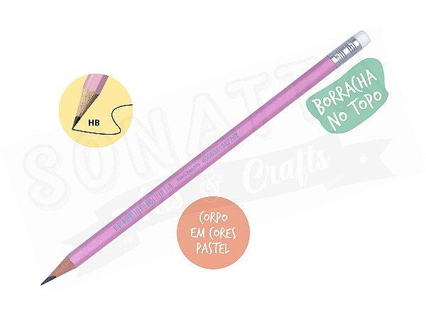 Lápis Preto STABILO Swano HB com Borracha - Corpo Rosa Pastel