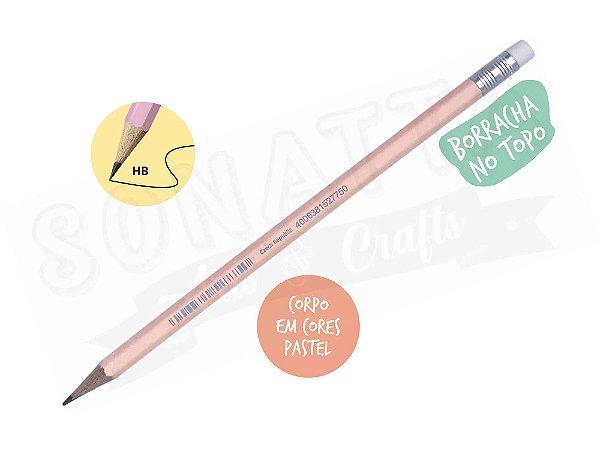Lápis Preto STABILO Swano HB com Borracha - Corpo Pêssego Pastel