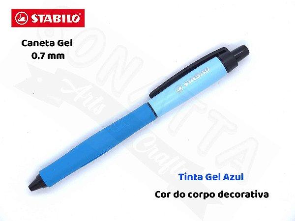 Caneta Gel STABILO Palette 0.7mm 268/1 - Corpo Azul Claro - Tinta Azul