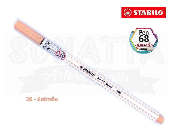 Caneta STABILO Pen 68 Brush Aquarelável - Salmão 26