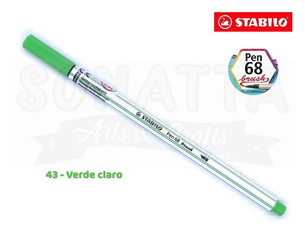 Caneta STABILO Pen 68 Brush Aquarelável - Verde Claro 43