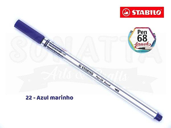 Caneta STABILO Pen 68 Brush Aquarelável - Azul Marinho 22