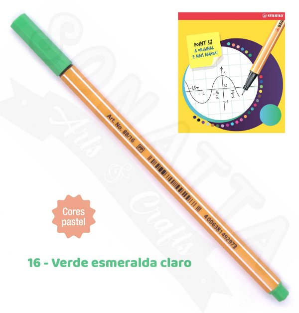 Caneta STABILO Point 88 Pastel - Verde Esmeralda Claro 16