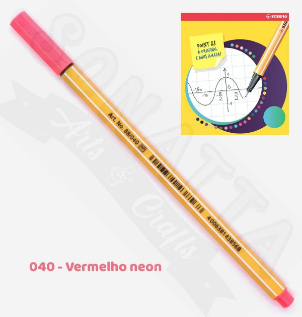 Caneta STABILO Point 88 Neon - Vermelho neon 040