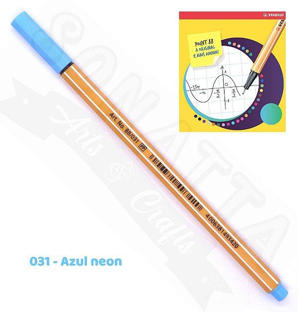 Caneta STABILO Point 88 Neon - Azul neon 031