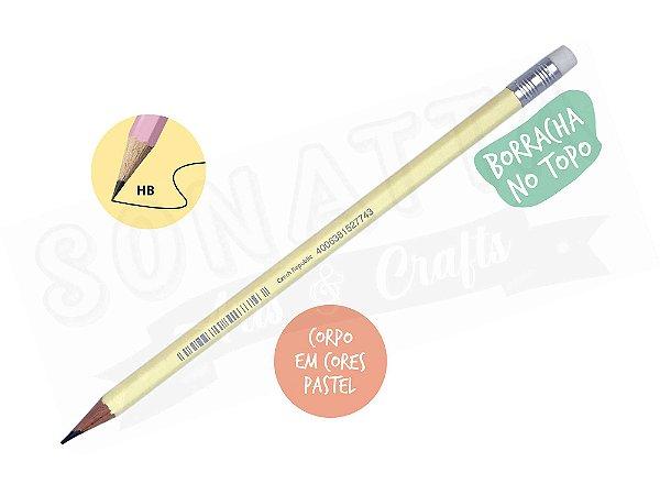 Lápis Preto STABILO Swano HB com Borracha - Corpo Amarelo Pastel