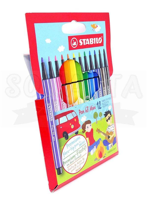 Estojo Canetas STABILO Pen 68 MINI com 12 Cores - 668/12