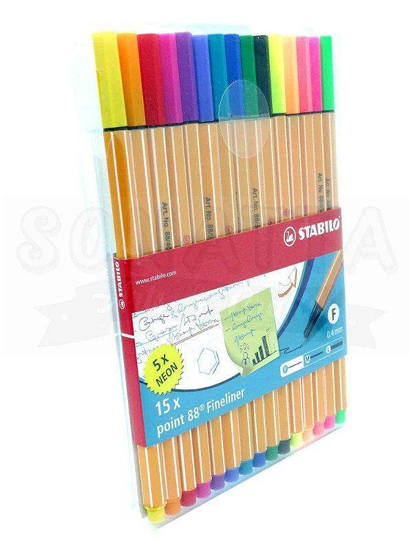 Estojo Canetas STABILO Point 88 com 15 Cores (10 + 5 Neon) - 8815-1