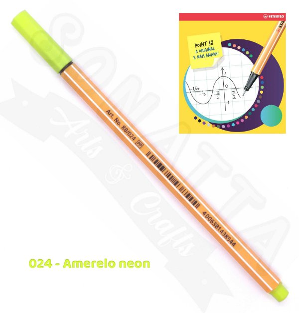 Caneta STABILO Point 88 Neon - Amarelo neon 024