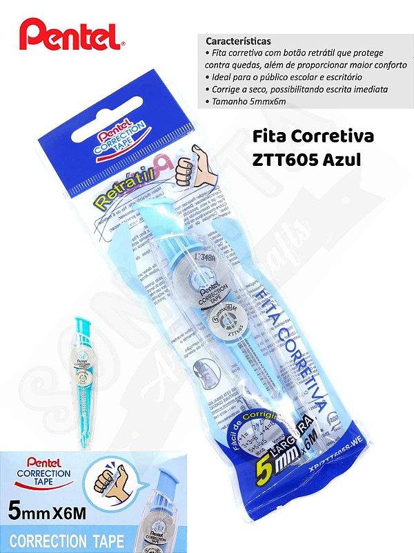 Fita Corretiva PENTEL Correction Tape Azul - ZTT605S