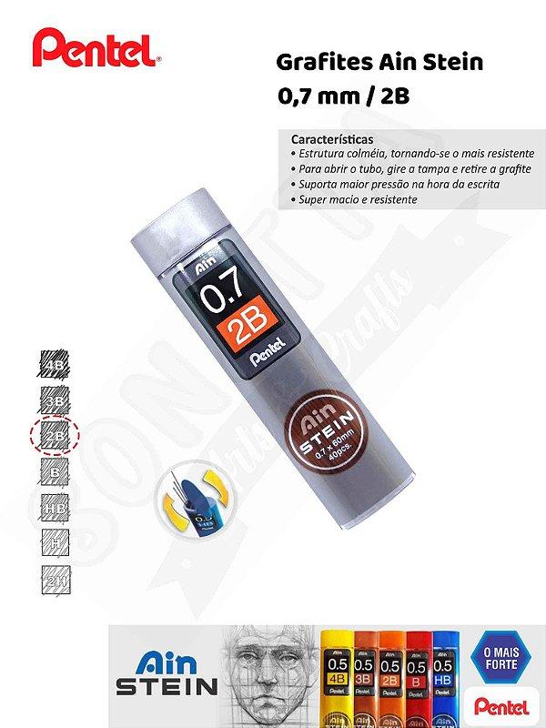Grafite / Mina PENTEL Ain Stein 0,7 2B - Tubo com 40 un. C277-2BO