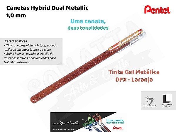 Caneta PENTEL Hybrid Dual Metallic Laranja + Amarelo Metálico - K110-DFX