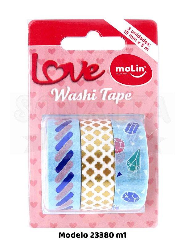 Washi Tape MOLIN Love Tubo com 3 unidades Modelo 1 - 23380