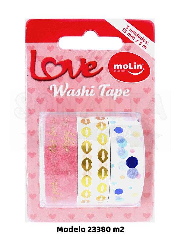 Washi Tape MOLIN Love Tubo com 3 unidades - Modelo 2 - 23380