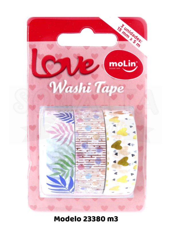 Washi Tape MOLIN Love Tubo com 3 unidades Modelo 3 - 23380