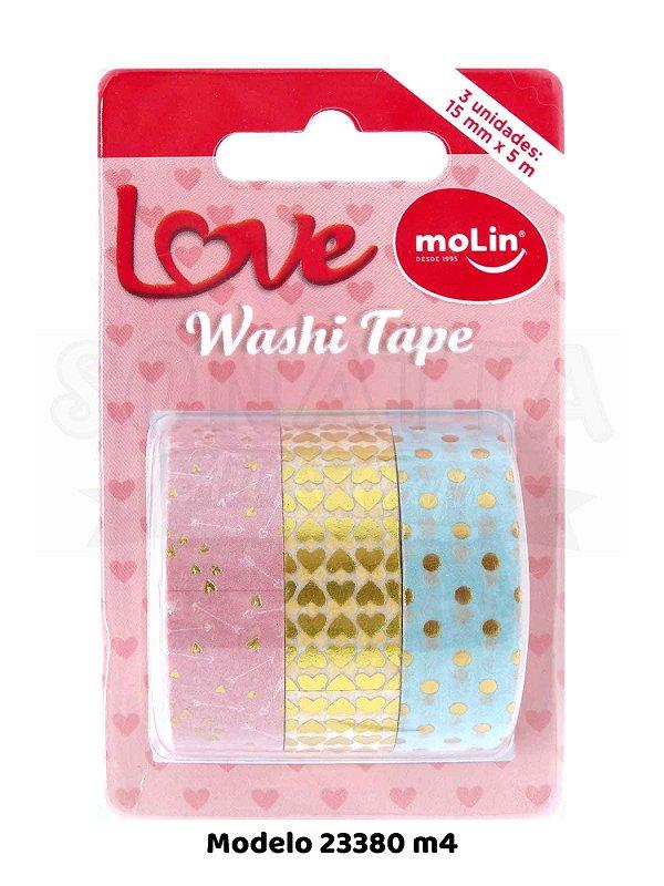 Washi Tape MOLIN Love Tubo com 3 unidades Modelo 4 - 23380