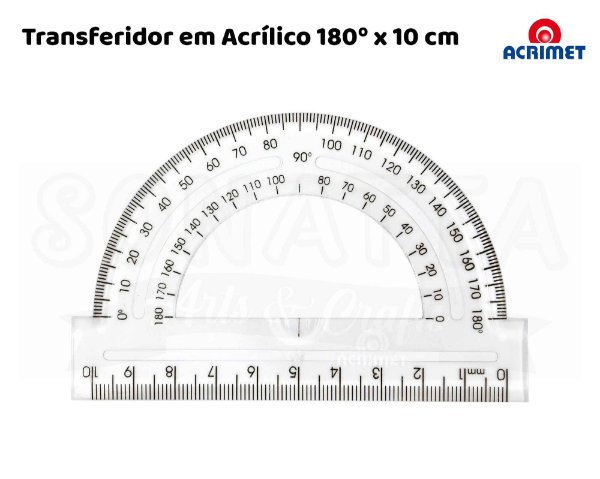Transferidor Acrílico ACRIMET 180 graus x 10cm - 551