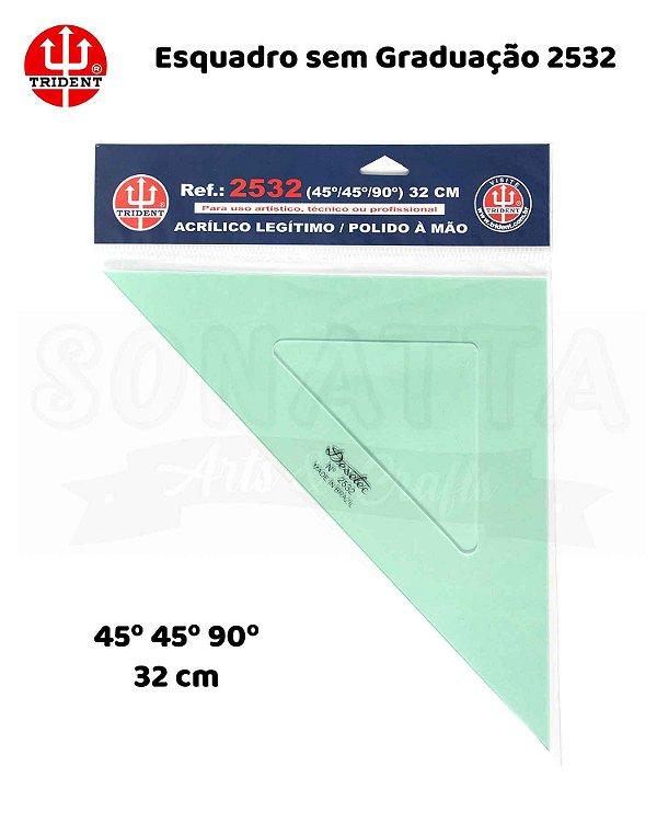 Esquadro TRIDENT Acrílico sem Graduação 45 32cm - 2532