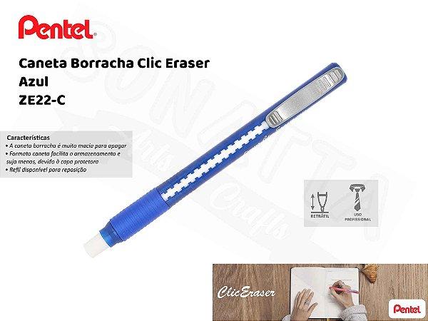 Caneta Borracha PENTEL Clic Eraser Azul – ZE22-C