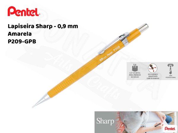 Lapiseira PENTEL Sharp Tradicional Amarela 0.9mm – P209-GPB