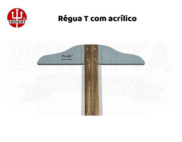 Régua T TRIDENT com Borda Acrílica 80cm Fixa - 5508