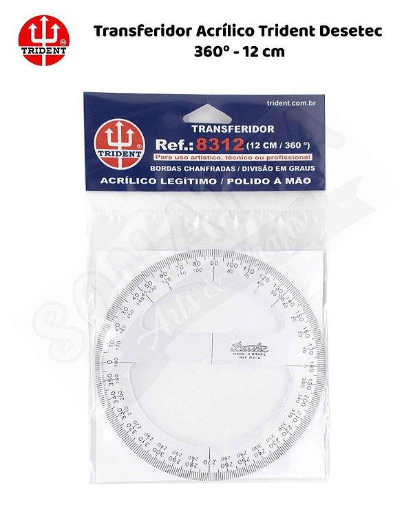 Transferidor Acrílico TRIDENT Desetec 360 graus x 12cm – 8312