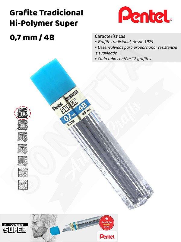 Grafite/Mina PENTEL Hi-Polymer 0,7mm 4B –504B