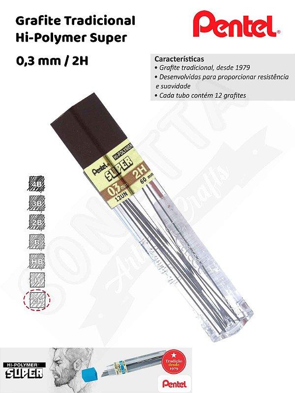 Grafite/Mina PENTEL Hi-Polymer 0,3mm 2H – 3002H