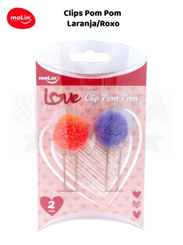 Clips Pom Pom MOLIN Caixa com 2un 23070 - Laranja e Roxo