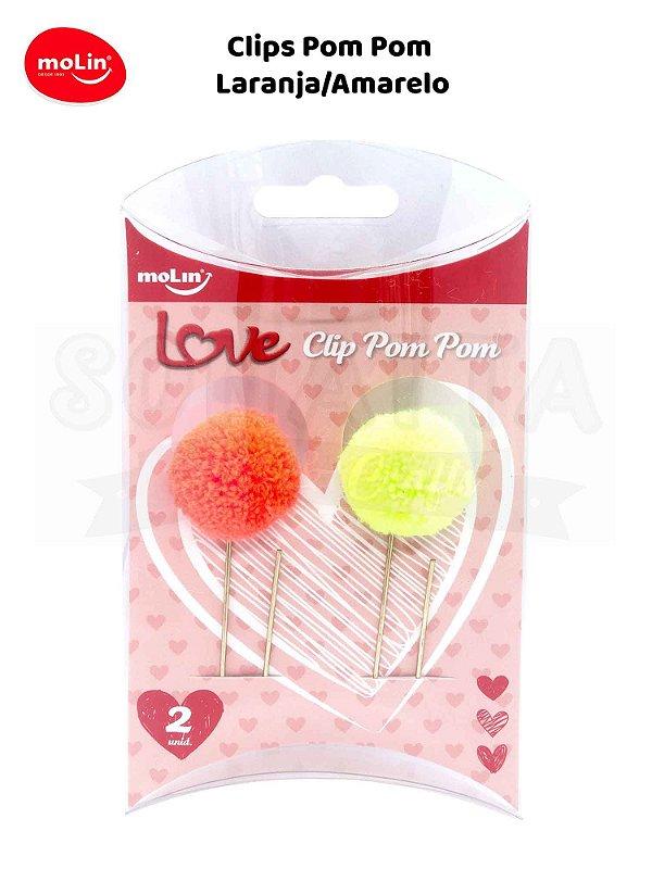 Clips Pom Pom MOLIN Caixa com 2un 23070 - Laranja e Amarelo