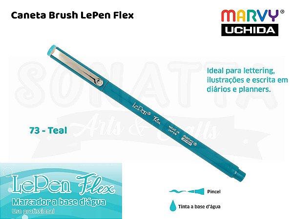 Marcador Artístico Marvy Uchida Ponta Pincel Le Pen Flex 480073 - Teal