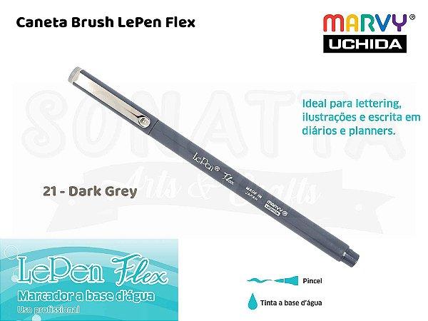 Marcador Artístico Marvy Uchida Ponta Pincel Le Pen Flex 480021 - Dark Grey