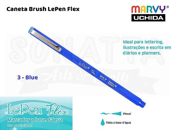 Marcador Artístico Marvy Uchida Ponta Pincel Le Pen Flex 48003 - Blue