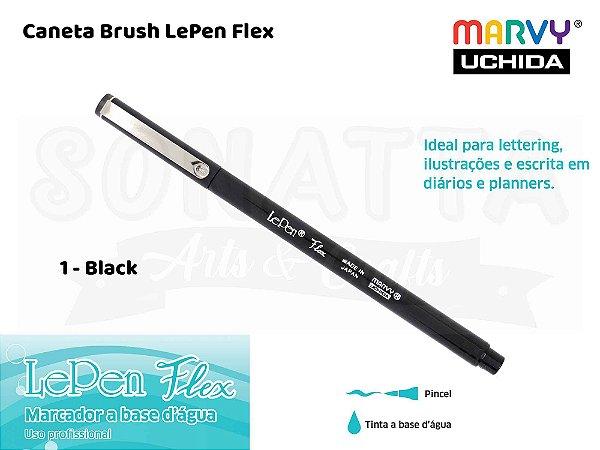 Marcador Artístico Marvy Uchida Ponta Pincel Le Pen Flex 48001 - Black