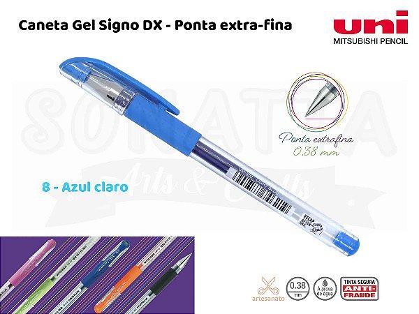 Caneta Uni-ball Signo DX 0,38mm UM-151 - Azul Claro 8
