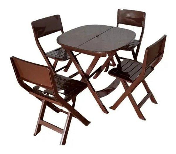 Kit 4 x1 Pratika Marrom - 1 Mesa e 4 Cadeiras Dobráveis - Ecomobili