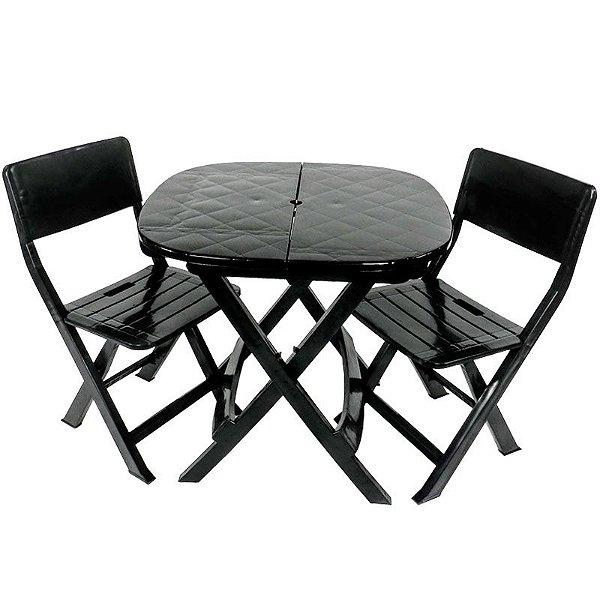 Kit 2x1 Pratika Preto - 1 Mesa e 2 Cadeiras Dobráveis - Ecomobili