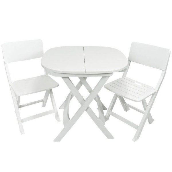 Kit 2x1 Pratika Branco- 1 Mesa e 2 Cadeiras Dobráveis - Ecomobili