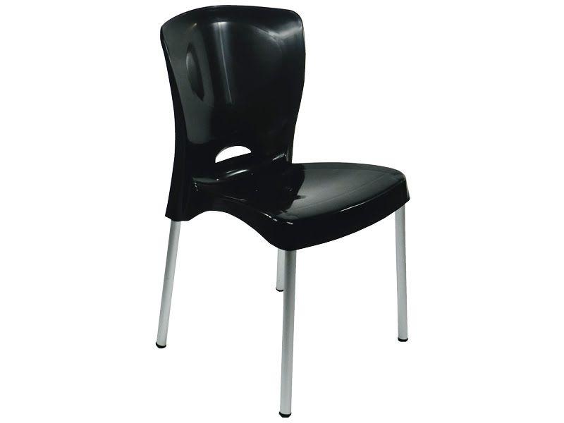 Cadeira Bistrô Lola com Pés em Alumínio - Preta - EcoMobili