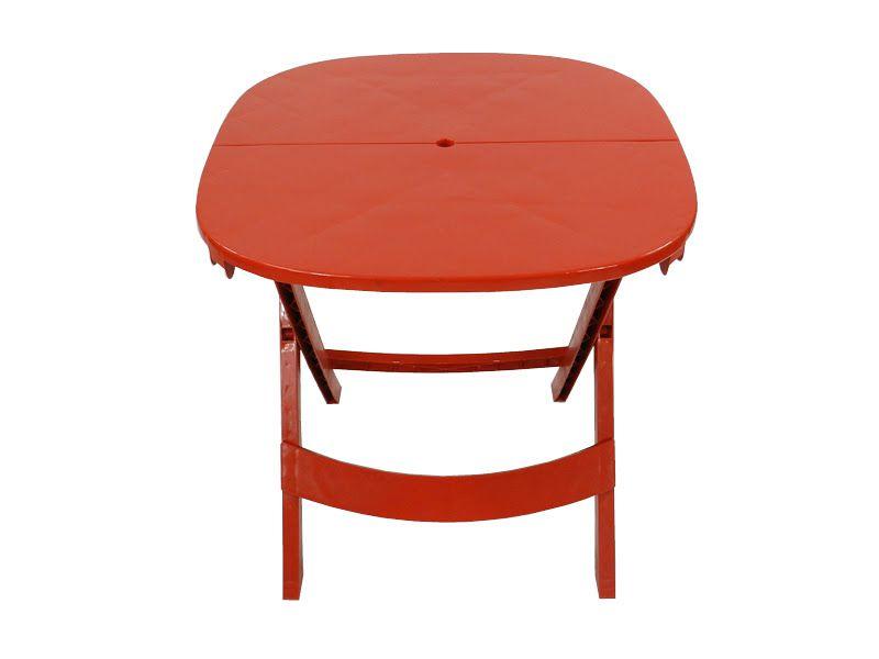 Mesa Plástica Dobrável Prátika  - Vermelha - EcoMobili