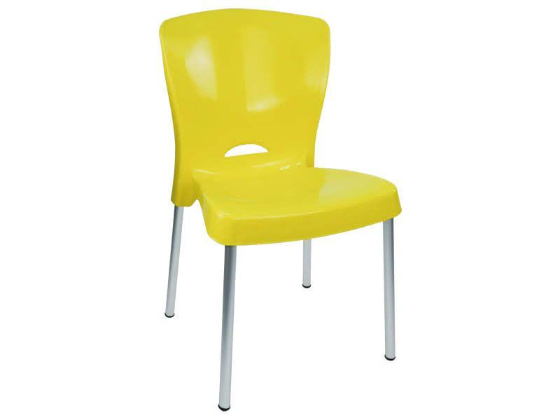 Cadeira Bistrô Lola com Pés em Alumínio - Amarela - EcoMobili