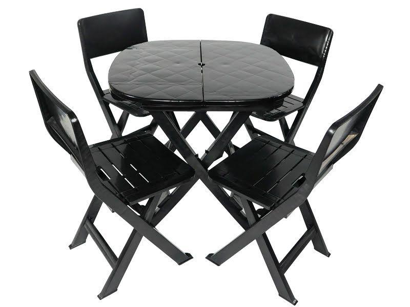 Kit 4 x1 Pratika Preto - 1 Mesa e 4 Cadeiras Dobráveis - Ecomobili