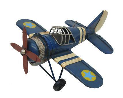 Avião de Metal Vintage Azul