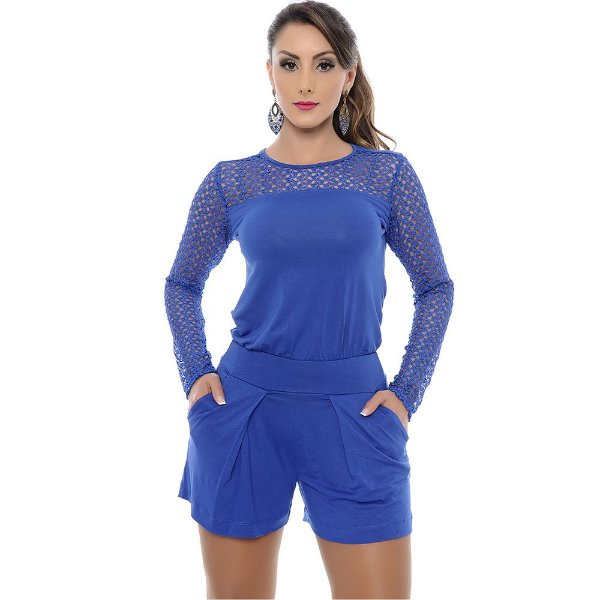 Macaquinho Curto M/Longa em Renda Taty B'Bonnie Azul Royal