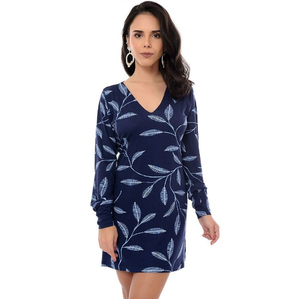 Vestido Curto M/L B'Bonnie Penélope Estampado Azul