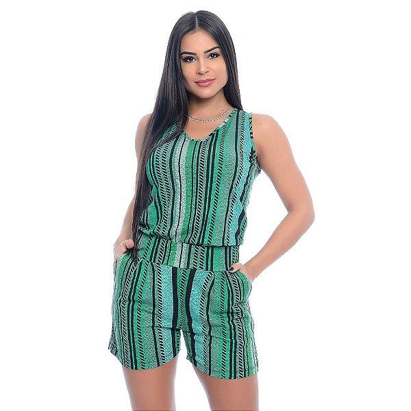 Macaquinho Feminino Alças Largas Bolsos e Cós na Cintura B'Bonnie Listrado Verde