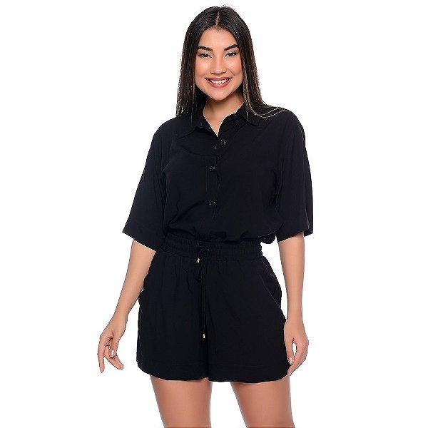 Conjunto Feminino de Camisa e Shorts em Viscose B'Bonnie Madonna Preto